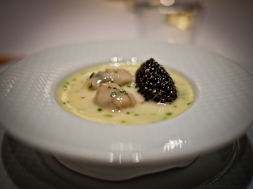 Oysters and pearls: Sabayon of Pearl Tapioca with ISland Creek Oysters and White Sturgeon Caviar