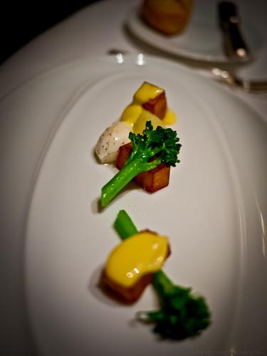 "Yukon Gold Potato ""Mille-Feuille"" Broccoli Ecrasee, Quail Egg and Malt Vinegar Emulsion"