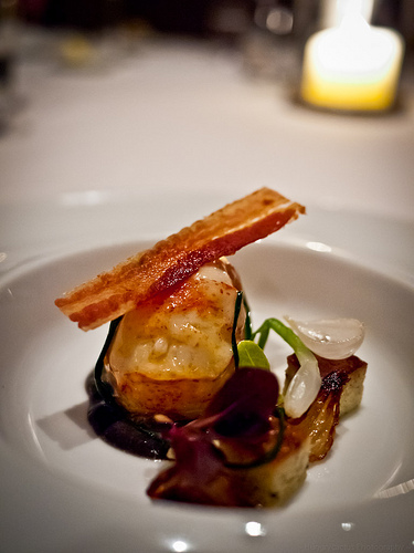 """Sweet Butter-poached maine lobster tail, truffle """"Pain Perdu"""" Hobbs' bacon and petite onions"""