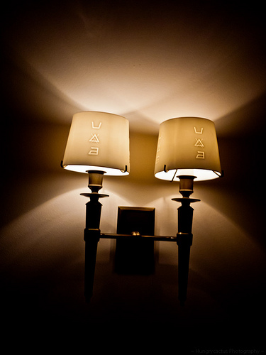 French Laundry lamp with laundry icons