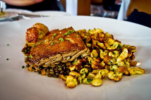 Redd Restaurant, Yountville - Crisp duck confit, lentils, foie gras meatballs, crispy spaetzle