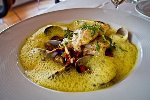 Redd Restaurant, Yountville - Petrale sole, creamy jasmine rice, cleams, chorizo, saffron curry nage